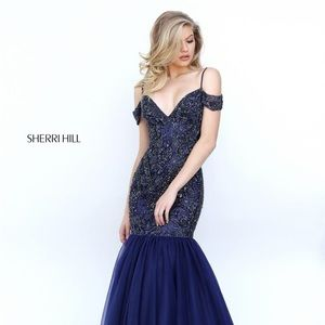 Sherri Hill Navy Mermaid Prom Pageant Dress